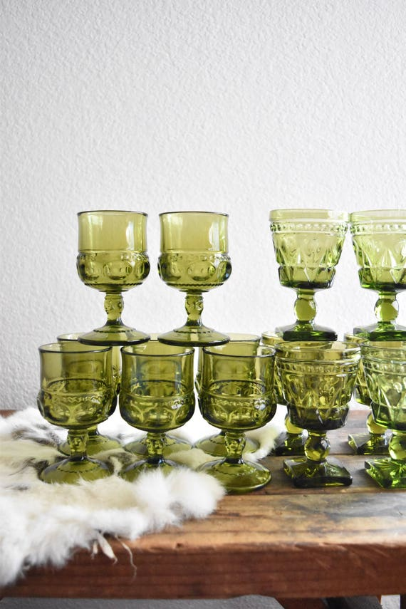 green glass champagne wine glass goblets / depression glass set 8