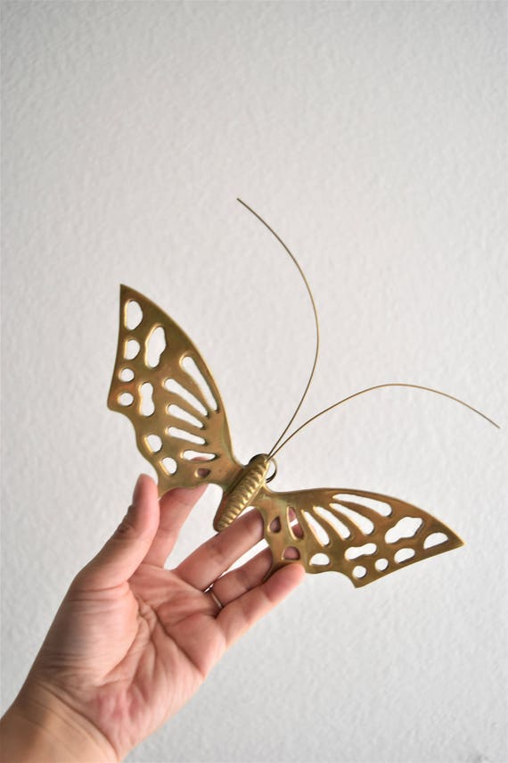 solid brass vintage gold butterfly / butterfly figurine / wall hanging