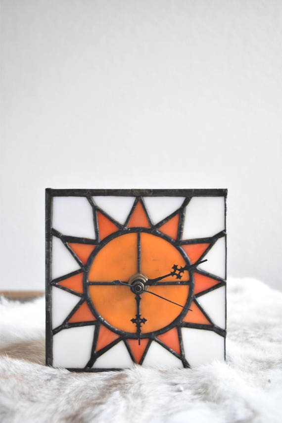 small hand painted glass sun battery operated clock