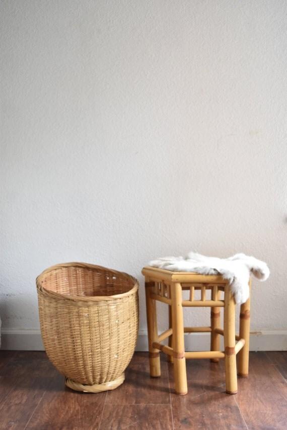 large vintage woven rattan wicker basket planter