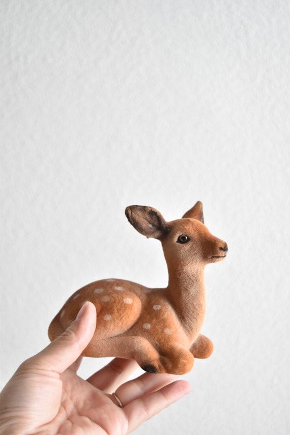 vintage spotted fuzzy flock deer figurine / reindeer ornament / doe, fawn