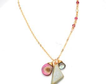 Seafoam Druzy Necklace - AAA Pink Watermelon Tourmaline, Labradorite & Pale Seafoam Green Druzy Pendant, Luxe Gold Gemstone Trio Necklace