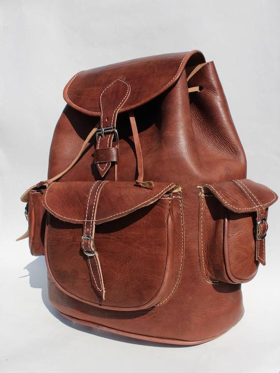 Leather Weekender! XL Backpack from  genuine cowhide, Mens travel bag, Zaino,travel bag, unisex backpack