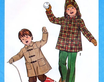 Simplicity 8635 Vintage 70s Sewing Pattern for Child's Coat or Jacket with Detachable Hood - Uncut - Size 5