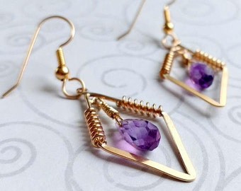 14K Gold Filled Diamond Earrings With Faceted Natural Colored Amethyst Gemstone Briolettes