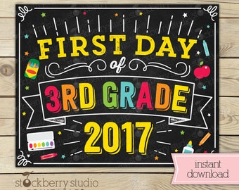 First Day of 3rd Grade Sign - Back to School - 1st Day of 3rd Grade - First Day of School Sign Printable - First Day of Third Grade Sign