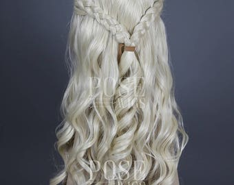 Daenerys Targaryen Wig / Long Curly White Blonde 2 Braids Lace Front Wig / Game of Thrones Costume Khaleesi Cosplay Halloween / Queen Series