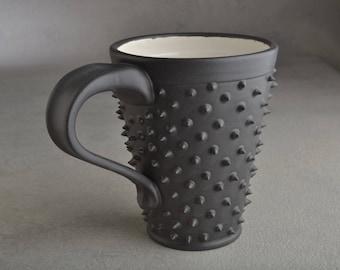 Spiky Coffee Mug Ready To Ship Black and White Dangerously Spiky Coffee Mug by Symmetrical Pottery w1