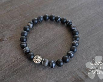 Bracelet pour homme - Celtic - Black - Bracelet noir - Sardonyx - Inspiration yoga - Coco Matcha