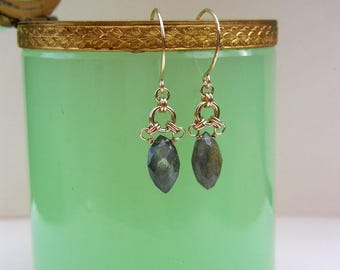 Delicate Labradorite Marquise Silver Chainmaille Earrings Labradorite Dangles Natural Stone Earrings Gemstone Small Silver Drop Earrings