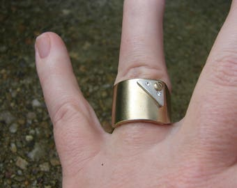 Screw Ring Size 8, Gold and Silver Color, Crystal Embellished, Signed KL, Vintage Estate Jewelry, Artisan Ring