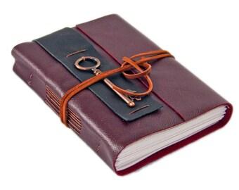 Burgundy Leather Journal - Lined Paper - Travel Journal - Leather Journal - Key Charm - Art Journal - Wrap Journal - Handmade Journal - Key