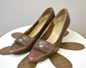 1960s Ferragamo Brown Leather Loafer Heels, Size 8AA