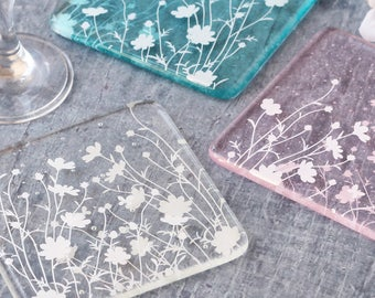 Glass meadow flower print coasters, handmade drinks coasters, drinks coaster set, mothers day day gift, gifts for home, house warming gift,