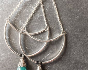 silver dangle earrings silver bohemian earrings dangle drop earrings half moon earrings jade earrings gifts for her | Sonja boho earrings