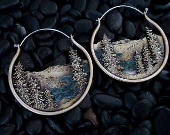 Big Sur Brass and Copper Landscape Earrings California Coast Mountain Earrings Mountain Jewelry Witchy Jewelry Ritual Remains Nature Gift