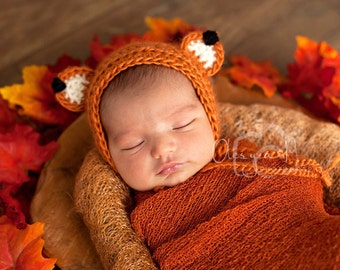 Newborn Fox bonnet, Baby fox outfit, Baby fox hat - Photo prop