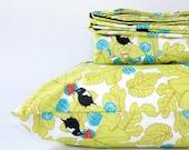 Green floral duvet, organic FULL size duvet cover - floral duvet cover - chartreuse green bedding- toddler duvet cover - baby girl bedding