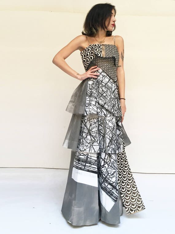 Long Grey Silk Organza Flounces Hand Painted Printed Dress LOLA DARLING from Vintage Limited Edition Artwork Certified