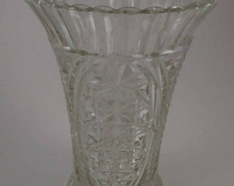 Vintage Vase, Pressed Glass, Heavy Clear Glass Vase, Flared with Scalloped Edges