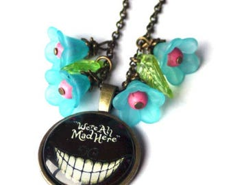 We are all mad here Alice in wonderland Necklace  Alice fans Alice lovers Birthday Present Alice at the Rabbit Hole Alice in Wonderland