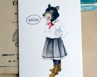 aeiou - watercolor Illustration - postcard art