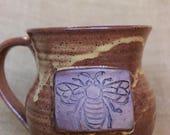 Bee mug, Honeybee mugs with honeycombs at the base, wheel thrown stoneware pottery mug