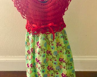 Baby Girl red and green crochet top dress