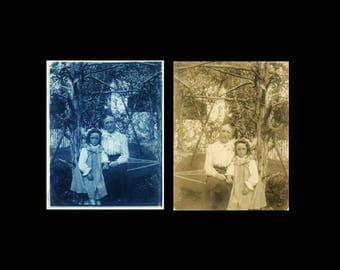 "2 pc - Vintage Photo ""Aunt Pearl"" Snapshot Antique Cyanotype Photograph Found Paper Ephemera Vernacular Interior Design Mood - 13"