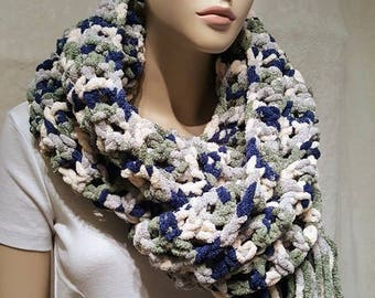 Oversized Crochet Scarf, Green Scarf with fringes, Blue crochet scarf, Plush comfy scarf, Chunky crochet Scarf, Warm winter scarf, Bulky
