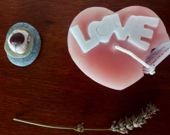 Valentines original pink candle gift / Heart with a bite with the word love in white love spell scented pillar candle / Unisex gift idea