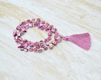 Tassel Necklace, Mauve Seashell Necklace, Pink Rosary Necklace,  Mother of Pearl, Long Rosary Necklace