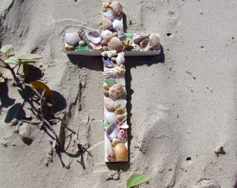Shell Wall Cross in White with Seashells and Seaglass
