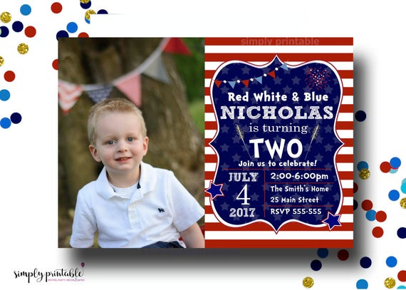 Fourth of July Birthday Invitation with Photo, 4th of July Bday, Red White Blue