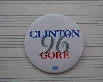 Vintage Clinton Gore 96 1996 Campaign Election Presidential Politics Button Pin Pinback