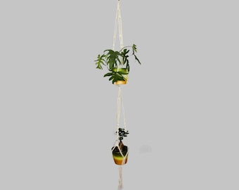 Cotton Double Macrame Plant Hanger / Two Tier Pot Hanger / Large Hanging Planter / Dual Flower Pot Holder / Ceiling Rope Planter / Bohemian