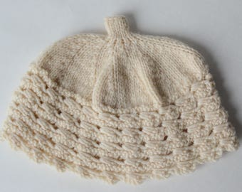 Vintage Hand Knitted Baby Hat  - Wool Cable Beanie Ivory - B6