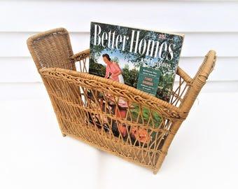 Vintage Wicker Basket | Rattan Trash Can | Wicker Magazine Rack | Wicker Record Holder | Wicker Waste Basket | Wicker Bathroom Storage