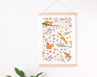 squirrel nursery, Squirrel print, squirrel art print, autumn print, autumn print A4, fall print, autumn wall decor, fall art print