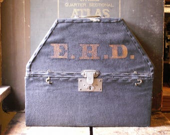 Antique Custom Mongrammed Hat Box for Plumed Triangular Hat - EHD Initials - Great Guy Gift