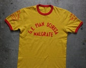 unique vintage Italian sport shirt by Panzari, with local sponsors, M/L, Lake Como area