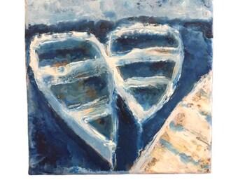 Boats at the Dock, Boats Painting, Ocean Art, Encaustic Painting, Original Painting,
