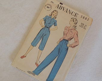 Vintage 1950s Advance Sewing Pattern 5882 Misses Trousers / Pant & Shirt Size 14