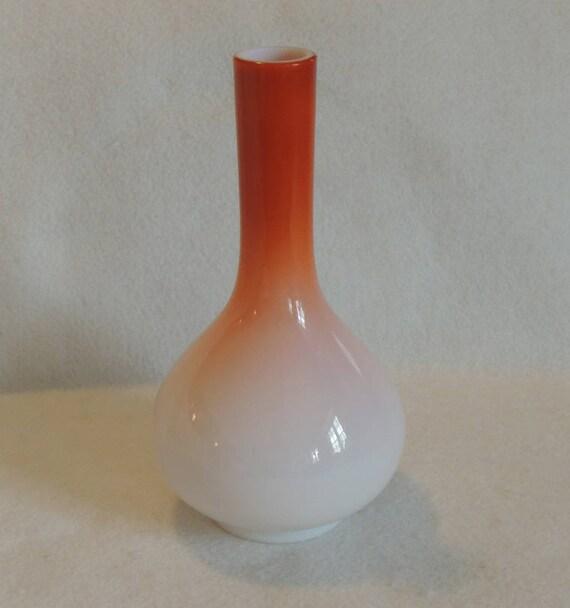 Vintage Mid Century Cased Art Glass Peachblow Bulbous 9.75 Inch Stick Vase