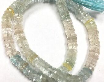 Aquamarine Faceted Rondelles- 5.5mm