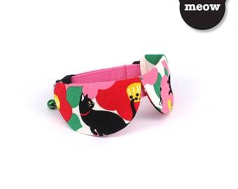 GOOOD Cat Collar   Dapper Round - In the Garden   100% Red & Pink Cotton Fabric   Safety Breakaway Buckle