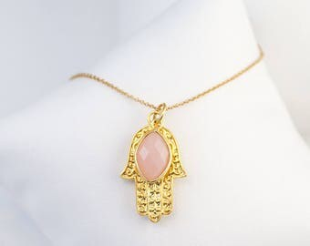 Birthstone Jewelry Christmas Gift, Pink Chalcedony Necklace, October Birthstone Necklace, Gold Hamsa Hand Necklace, Good Luck Necklace