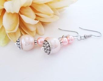 Blush Pink Earrings Pearl Bridal Earrings Sterling Silver, Bridesmaids Gift for Her, Boho Wedding Jewelry, Clip On Earrings Dangle Wife Gift