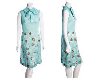 Vintage blue pussybow dress -- teal floral midi dress -- vintage tie neck dress -- 60s 70s day dress-- size medium
