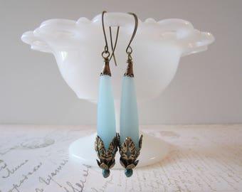 Dramatic Sea Glass Dangles in Aqua, Brass // Art Nouveau Earrings